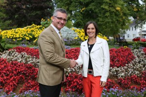 Minister of Economic Development and Tourism Heath MacDonald with Tara Costello, Ahead In The Game.